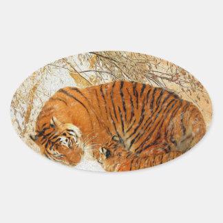Adesivo Oval Família em um blizzard - PaintingZ do tigre