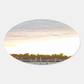 Adesivo Oval Farol no por do sol