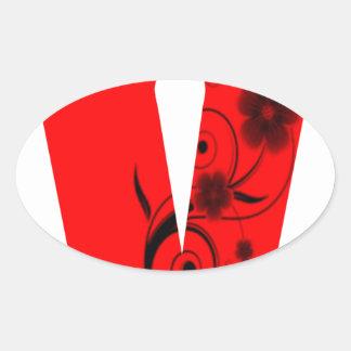Adesivo Oval Flor da letra V
