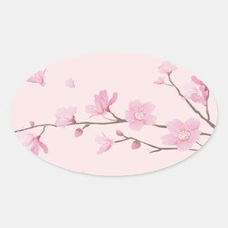 Adesivo Oval Flor de cerejeira - rosa