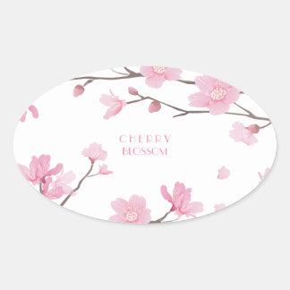 Adesivo Oval Flor de cerejeira - Transparente-Fundo