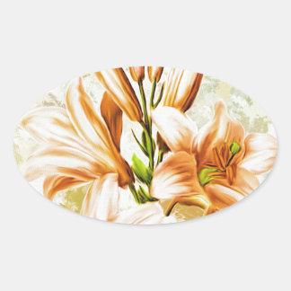 Adesivo Oval Floral, arte, design, bonito, novo, forma, Crea