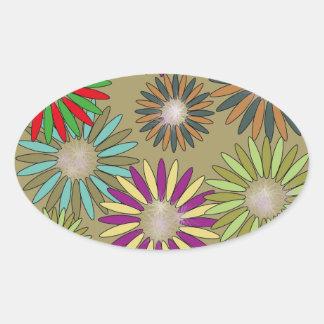 Adesivo Oval Floral Fantasy