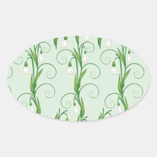 Adesivo Oval Flores brancas de Snowdrop