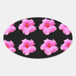 Adesivo Oval Flores cor-de-rosa do hibiscus no preto, _