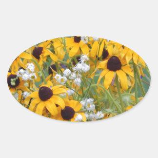 Adesivo Oval Flores susan de olhos pretos