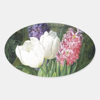 Adesivo Oval Flores velhas do primavera do Dutch