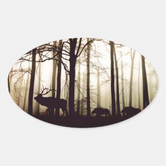 Adesivo Oval floresta
