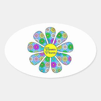 Adesivo Oval Flower power feliz
