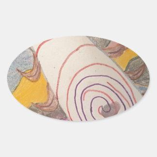 Adesivo Oval Flutuação no vácuo do arco-íris