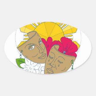 Adesivo Oval Fluxo filipino de Sampaguita do hibiscus de Sun da