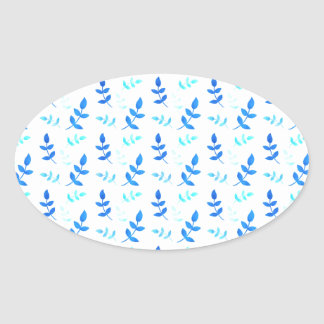Adesivo Oval Folhas Azuis - Blue Leaves