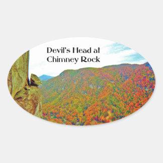 Adesivo Oval Formação de rocha principal do diabo sobre a rocha