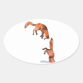 Adesivo Oval Fox vermelho de salto