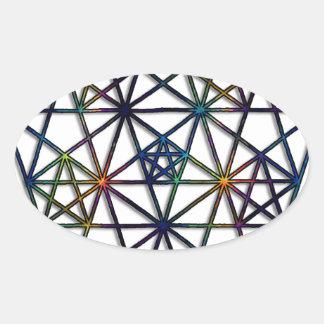 Adesivo Oval Fractal sagrado da geometria da abundância da vida