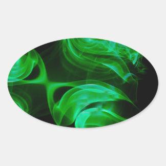 Adesivo Oval Fractal verde do cetim