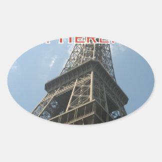 Adesivo Oval Francês do verão 2016 de Paris France da torre