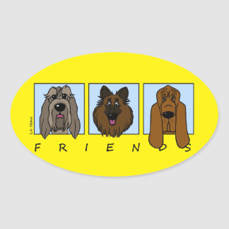 Adesivo Oval Friends: Spinone Italiano, Tervueren, Bloodhound