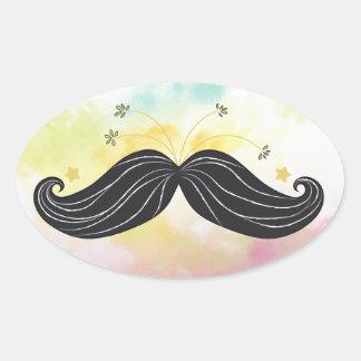 Adesivo Oval Fundo colorido do bigode engraçado bonito tirado