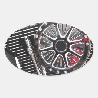 Adesivo Oval Fundo cromado motocicleta do detalhe do motor