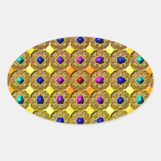 Adesivo Oval Fundo de pedra preciosa