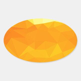Adesivo Oval Fundo do polígono do abstrato do amarelo do Cyber