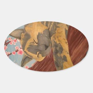 Adesivo Oval Gato do sono da flor de cerejeira