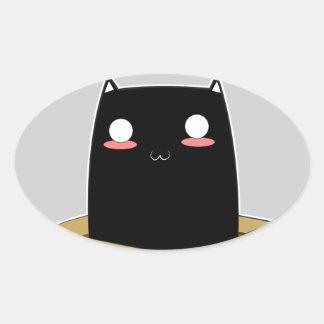 Adesivo Oval Gato preto em uma caixa