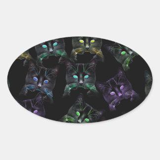 Adesivo Oval Gatos legal no preto! gatos Multi-coloridos