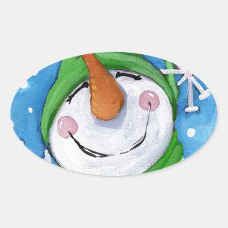 Adesivo Oval Gelado o boneco de neve feliz