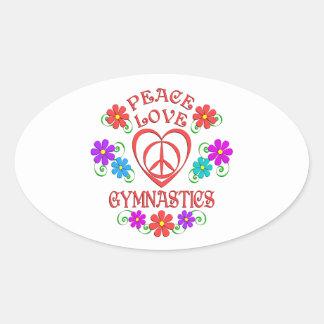 Adesivo Oval Ginástica do amor da paz