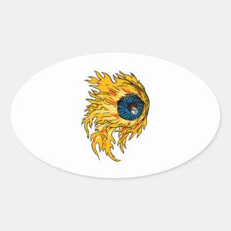 Adesivo Oval Globo ocular flamejante no desenho do fogo