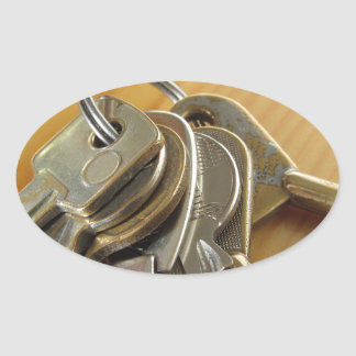 Adesivo Oval Grupo de chaves gastas da casa na mesa de madeira
