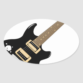 Adesivo Oval Guitarra elétrica