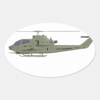 Adesivo Oval Helicóptero de Apache no perfil da vista lateral