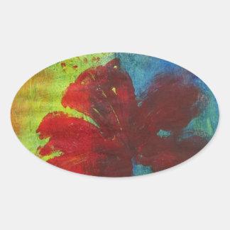 Adesivo Oval hibiscus