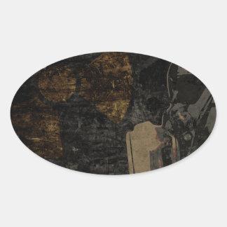 Adesivo Oval Homem com máscara protetora na placa de metal