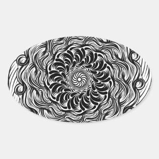 Adesivo Oval Ilusão óptica do Doodle ornamentado do zen preto e