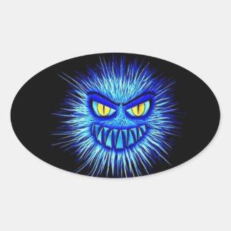 Adesivo Oval Ilustração Ghoulish cruento assustador do Dia das