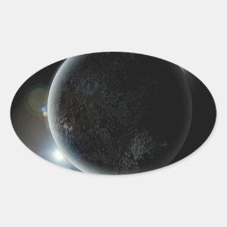 Adesivo Oval ilustração preta do planeta 3d no universo