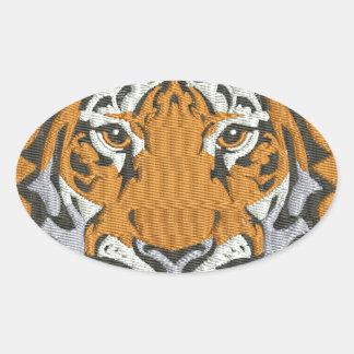 Adesivo Oval imitação do tigre do bordado