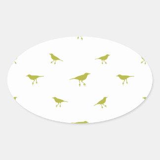 Adesivo Oval Impressão da silhueta dos pássaros