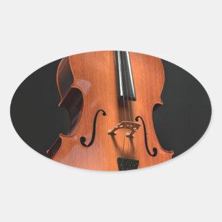 Adesivo Oval Instrumento amarrado cordas da madeira do