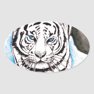 Adesivo Oval Inverno branco do tigre Siberian