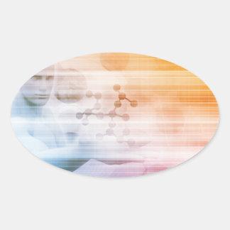 Adesivo Oval Investigação e desenvolvimento com doutor Visão