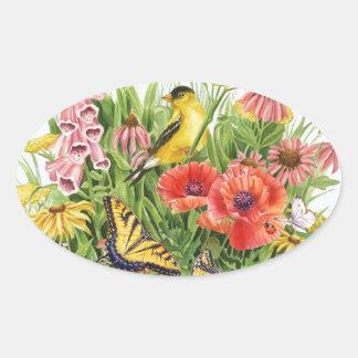 Adesivo Oval Jardim do Goldfinch