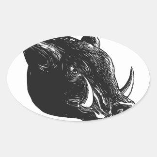 Adesivo Oval Javali Scratchboard do Razorback