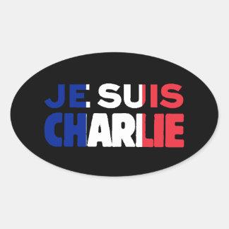 Adesivo Oval Je Suis Charlie - eu sou Tri Cor de Charlie de