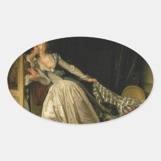 Adesivo Oval Jean-Honore Fragonard - o beijo roubado - belas