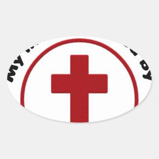 Adesivo Oval jesus salvar, camisa cristã do presente t da